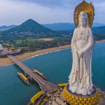 Guanyin Statue under sunset